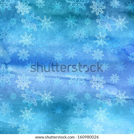 Christmas winter watercolor snowflakes background - stock photo