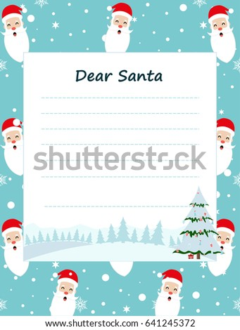 Christmas wish list santa letter santa stock illustration 641245372 christmas wish list with santa a letter to santa claus template a place for spiritdancerdesigns Image collections