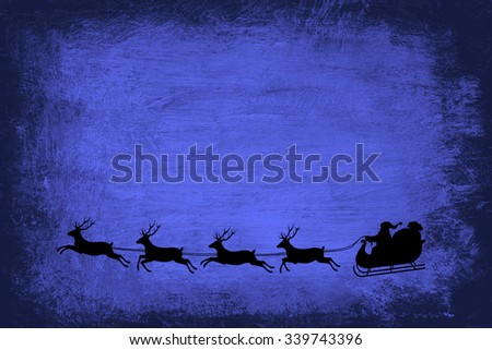 Christmas wishing card with a colorful grungy background and  illustration of santa and his reindeer , with  room for copyspace  - stock photo