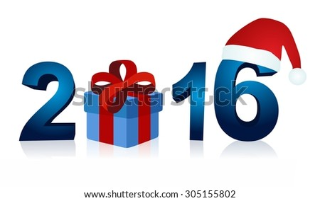 Christmas 2016 with blue gift box and santa claus cap - stock photo