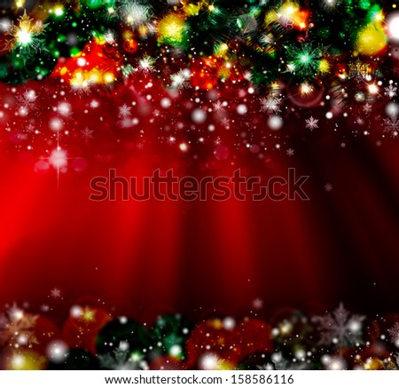 Christmas with defocused lights. Red background  - stock photo