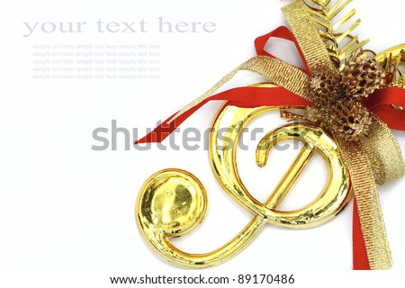 Christmas with musical signs and color ribbon on white background. - stock photo