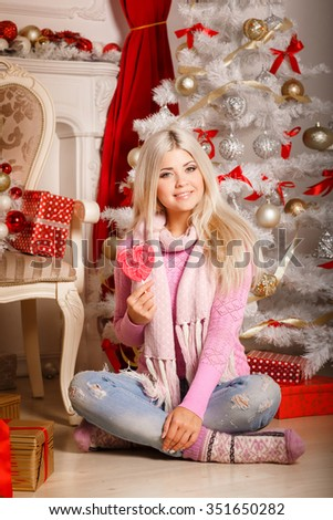 Christmas woman happy smiling at new year tree, x-mas, winter, beautiful girl with gift boxes Christmas eve, marry Christmas, series