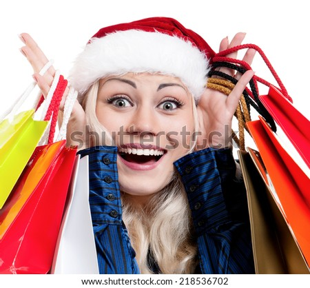 Christmas woman with shopping bags - stock photo