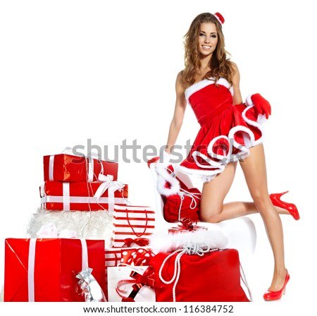 Christmas women with gifts - stock photo