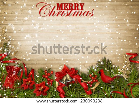 Christmas wood background with firtree,cardinal and poinsettia - stock photo