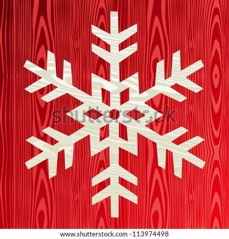 Christmas wooden snowflake symbol greeting card background.