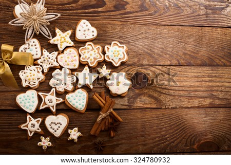 Christmas wooden table with sweets. Top view.