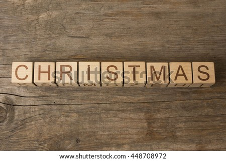 CHRISTMAS word written on wooden cubes