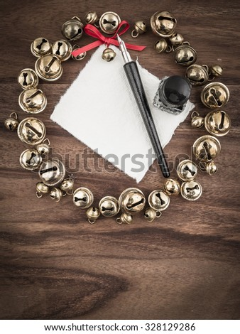 Christmas, wreath, bells, card, quill and inkwell