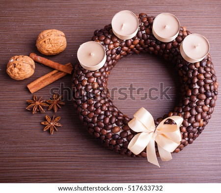 christmas wreath from coffee beans