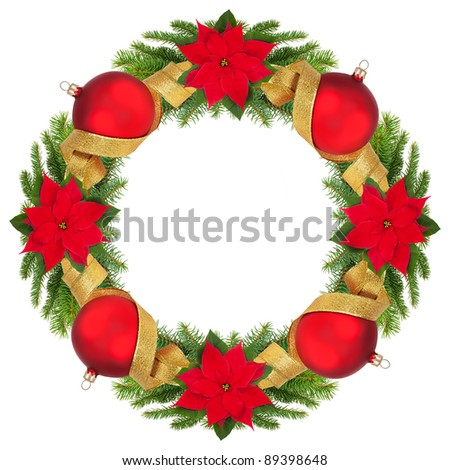 Christmas wreath isolated on white. - stock photo