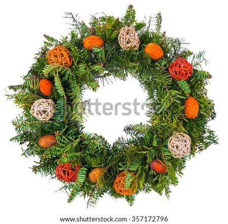 Christmas wreath isolated on white background - stock photo