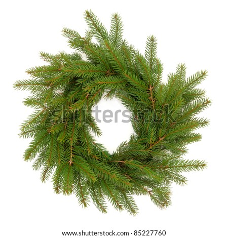Christmas wreath made of spruce fir pine with no decorations isolated over white background. - stock photo