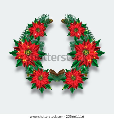 Christmas wreath of fir branches and flowers poinsettias. - stock photo