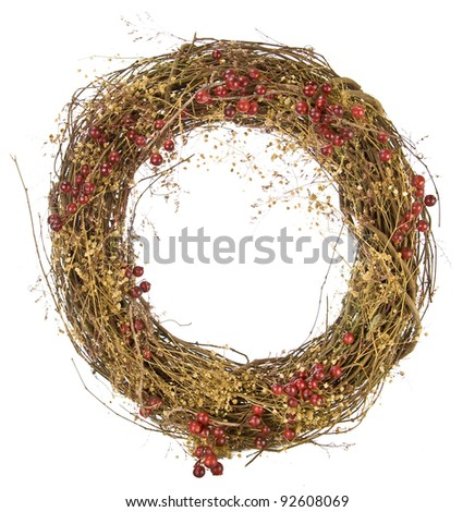 Christmas wreath of red berries and vines isolated on white - stock photo