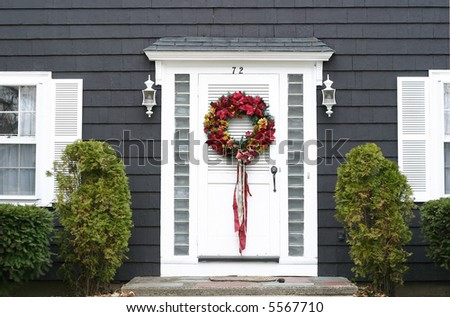 Christmas Wreath On Front Door Stock Photo Royalty Free 5567710