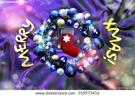 Christmas wreath on purple fabric with text
