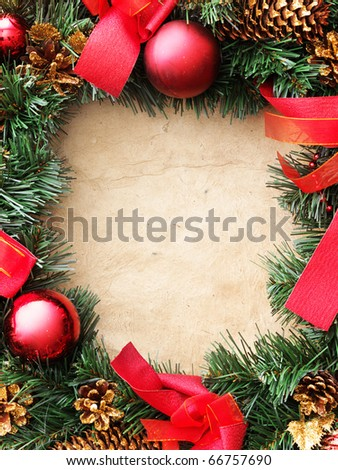 Christmas wreath on the paper - stock photo