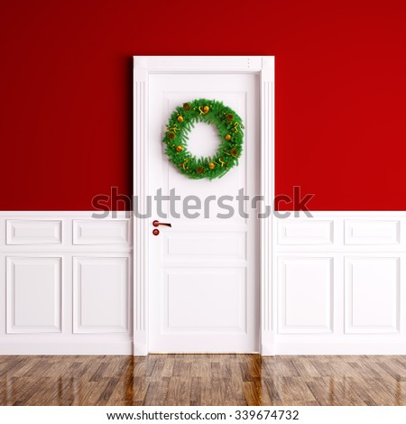 Christmas wreath on the white door over red wall interior 3d rendering - stock photo