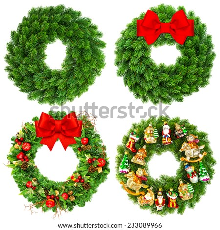christmas wreath undecorated and decorated with ornaments, red ribbon bow and vintage toys isolated on white background - stock photo