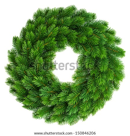 christmas wreath undecorated isolated on white background - stock photo