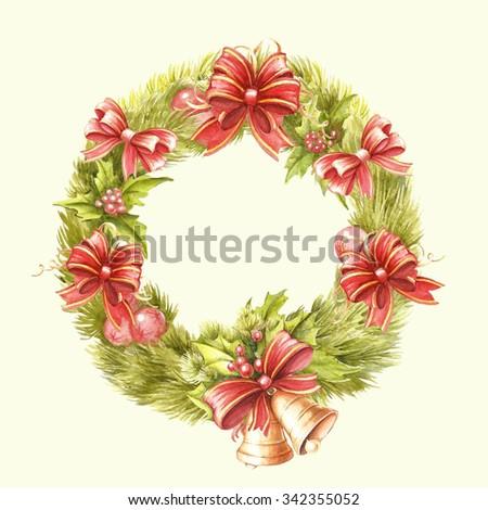 Christmas wreath. Watercolor illustration - stock photo