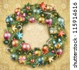 Christmas wreath with baubles and christmas tree. Check my portfolio for vector version. - stock photo