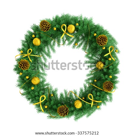 Christmas wreath with baubles, fir cones, ribbons and bows isolated over white 3d rendering - stock photo