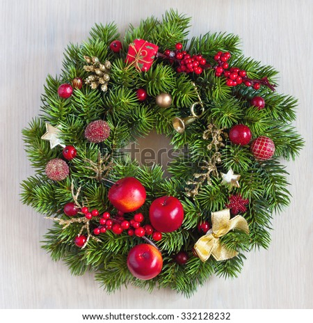 Christmas wreath with decoration close up. - stock photo