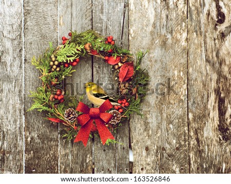 Christmas wreath with natural decorations with a beautiful American goldfinch perched, hanging on a rustic wooden wall with copy space.  - stock photo