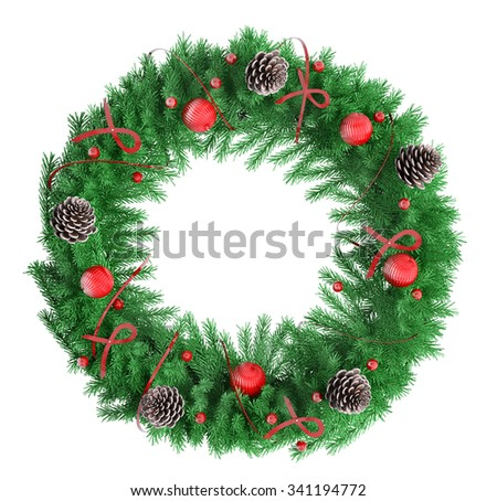 Christmas wreath with red baubles, ribbons and bows fir cones, isolated over white 3d rendering - stock photo