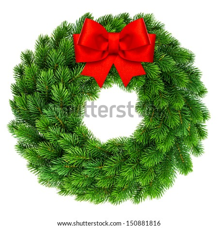 christmas wreath with red ribbon bow decoration isolated on white background - stock photo
