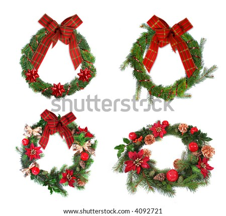 Christmas Wreaths - stock photo