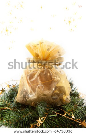 Christmas wreaths with christmas gift on the white background - stock photo