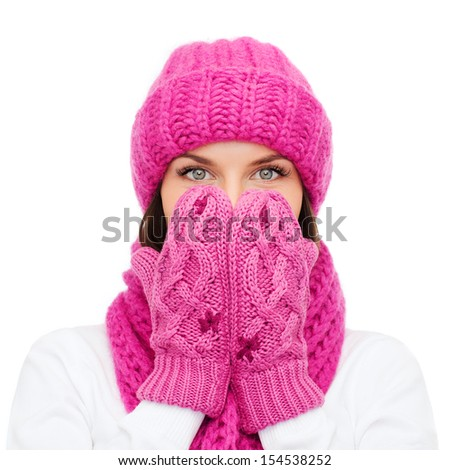 christmas, x-mas, winter, happiness concept - surprised woman in hat, muffler and mittens - stock photo