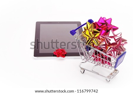 Christmas xmas shopping isolated on white background - stock photo
