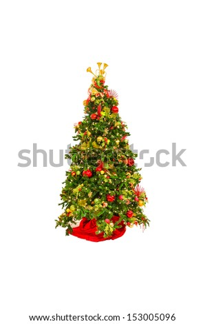 Christmas, xmas tree. Isolated on white. Vertical. - stock photo