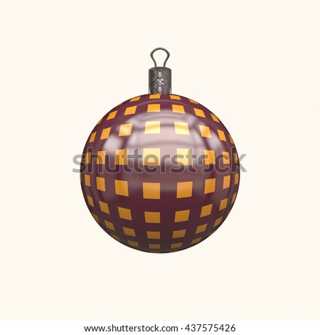 Christmas yellow globe studded with stars. Digital illustration art work. 3D rendering.