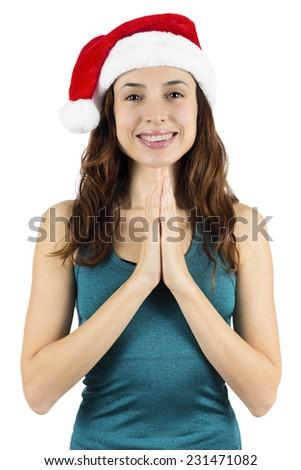 Christmas yoga woman meditating - stock photo