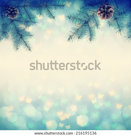 Christmass background with fir branch. Vintage colors  - stock photo