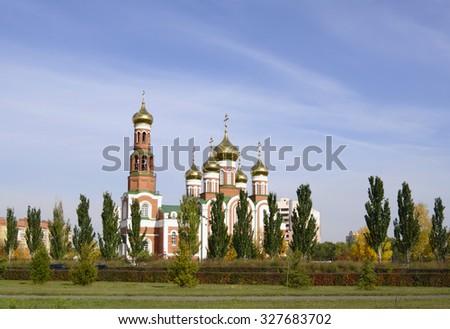 Christo-Rozhdestvenskii (Christmas) Cathedral, autumn view, blue sky, Omsk, Russia  - stock photo