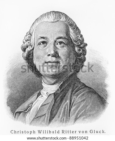 Christoph Willibald Gluck - Picture from Meyers Lexicon books written in German language. Collection of 21 volumes published  between 1905 and 1909.