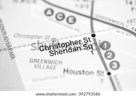 Christopher St Sheridan Sq. Broadway/7 Avenue Line. NYC. USA