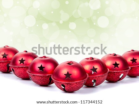 Chritmas bells or ornaments on white - stock photo