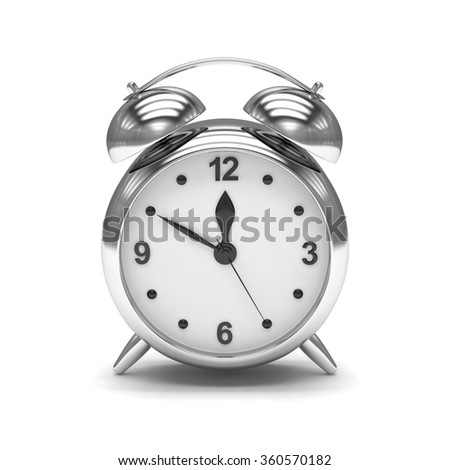 Chrome alarm clock on white - stock photo