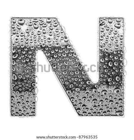 chrome alphabet symbol - letter N. Water splashes and drops on glossy metal. Isolated on white - stock photo