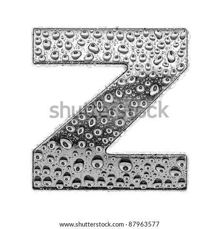 chrome alphabet symbol - letter Z. Water splashes and drops on glossy metal. Isolated on white - stock photo