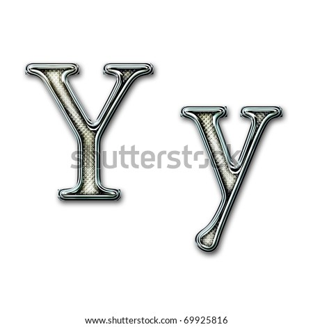 Chrome alphabet with snakeskin for web or letter - stock photo