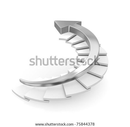 Chrome Arrow Moving Upstairs - stock photo